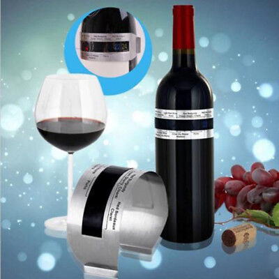 1pc Stainless Wine Bottle Thermometer LCD Display Serving Bracelet Party Checker