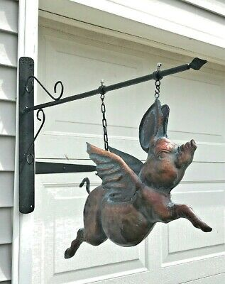 LG FLYING PIG  on HANGING BRACKET~ 3D in AGED COPPER PATINA FINISH ~ New !