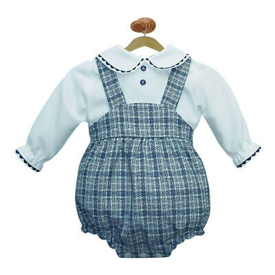Baby Tweed Romper & White Top. Spanish kids fashion. Made in Spain.