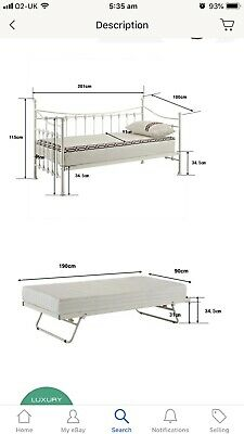 Versailles French Day Bed and Trundle White Metal Frame with Foam Mattress