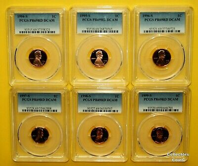 """1994, 1995 - 1999 """"S"""" 1C PCGS 69 RD DCAM Proof 6 Coin Lincoln Memorial Cent Set"""