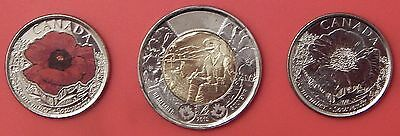 Brilliant Uncirculated 2015 Canada Poppy 25 Cents & Flanders Fields 2 Dollars