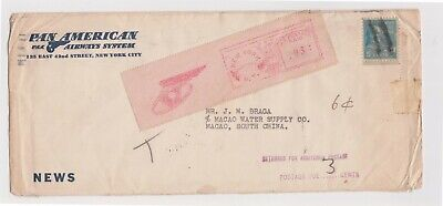 (K151-21) 1939 USA to Macao letter to Portugal for additional postage (U)