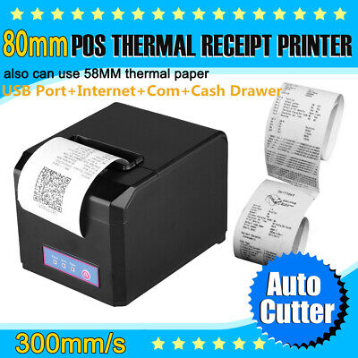 300mm/s 80mm AUTO-CUT Thermal Receipt Printer ESC/POS USB Ethernet W/Paper Roll