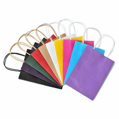 Recyclable 10 Colors Party Bags Kraft Paper Gift Bag With Handle Shop Loot Bag A