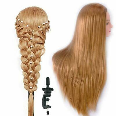 70% 100% Human Hair Practice Training Head Mannequin Hairdressing Doll+Clamp  AU