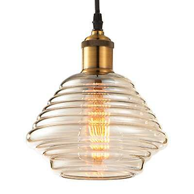 Endon Lighting Williams Tinted Cognac Glass and Antique Brass Pendant Light