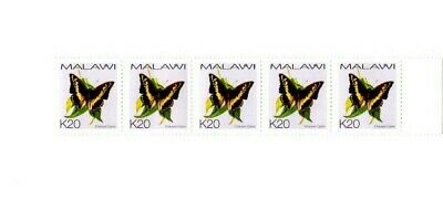 MALAWI CHARAXES CASTOR BUTTERFLY K20 MINT STAMPS x 5 IN STRIP WITH RH MARGIN