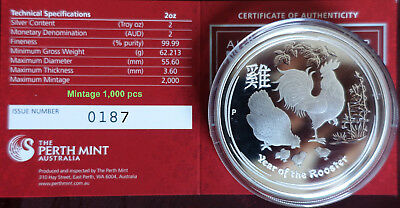 "2 oz Lunar II proof silver coin 2017 Year of the Rooster, CoA "" very rare """