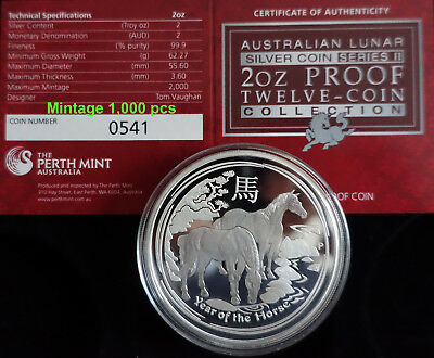 "2 oz Lunar II proof silver coin 2014 Year of the Horse CoA "" very rare """
