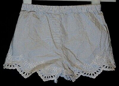 Girls Next Blue White Stripe Embroidered Scalloped Hem Shorts Age 5-6 Years