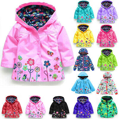 AU Kids Boys Girls Waterproof Windproof Raincoat Flowers Hooded Jacket Outerwear