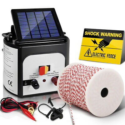 Giantz 8km Solar Electric Fence Energiser Charger with 500M Tape and 25pcs Insul
