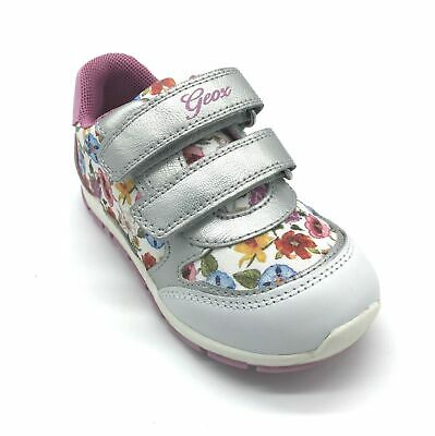 Geox Baby Shaax Girl's Trainers White/Silver Floral 50% OFF RRP
