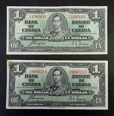 1937 Two $1 Bank of Canada Banknote,