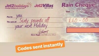 5x Summer 2020 Jet2Holidays £60 Rain Cheque voucher - OCT 2020 new codes