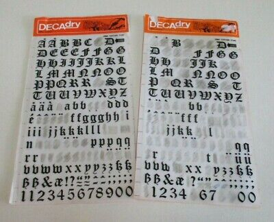 Vintage Letraset Decadry Transfers - Rub off Letters & Numbers - 48 Point, 12 mm