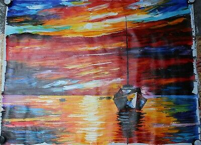 Oil Painting on Canvas, by Leonid Afremov. Unframed. World Renowned Artist. Boat