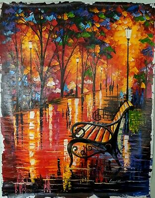 Oil Painting on Canvas, by Leonid Afremov. Unframed.World Renowned Artist. bench