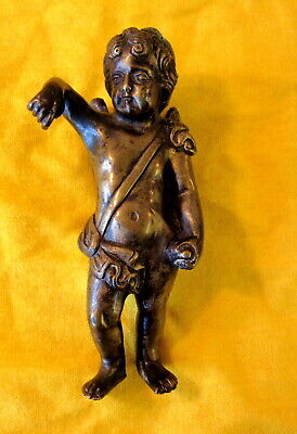 Antique Winged CHERUB Clock Surmount / Early VICTORIAN * 832g Heavy Solid Bronze