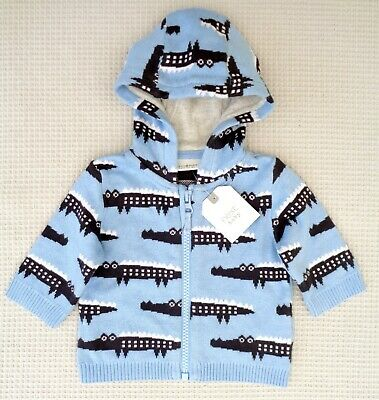 BNWT Next Baby Boys Cotton Knit Crocodile Hoodie Cardigan Jacket Newborn 0-month