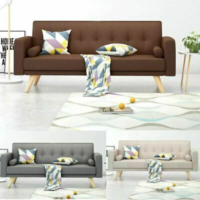 Modern 3 Seater Padded Fabric Sofa Bed Settee Sofabed Armchair With 2 Cushions