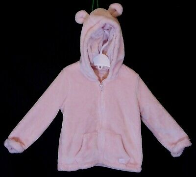 Baby Girls F&F Pink Soft Furry Fleece Zipped Hooded Jacket Coat Age 12-18 Months