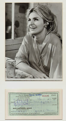 JOANNE WOODWARD signed cheque 1973 + pic in display  UACC RD retiring