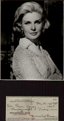 JOANNE WOODWARD signed cheque 1969+ pic in display  UACC RD retiring