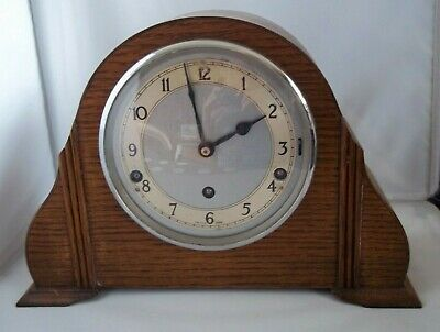 Garrard Of London Oak English 8 Day Westminster Chime Mantel Clock Working Key