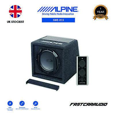 "Alpine Swe-815 8"" Amplified Subwoofer Bass Box With Wired Remote Controller"