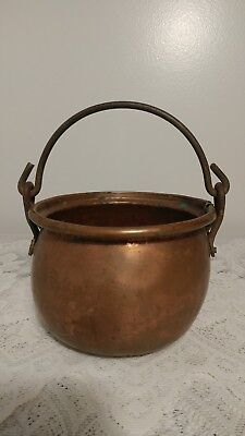 Antique Hand Made Copper Kettle Pot w/Seam on Base & 1 Side w/Iron Handle