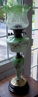 Original Victorian Handpainted Oil Lamp With Etched Green Shade Duplex Double Bu