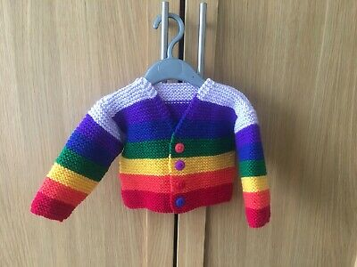 New hand knitted boys rainbow cardigan size 6-9 months