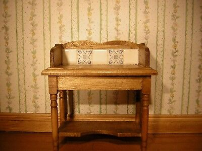 1/12th Dollshouse Miniature Hand Stained and Polished Washstand with tiled back