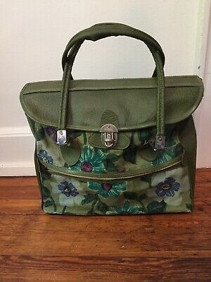 VINTAGE VENTURA TRAVELWARE 1960's Green Daisy Flower Power Luggage Travel Bag