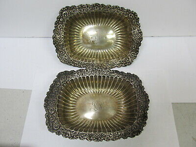"""Whiting Mfg Co 2 Sterling Silver Flower Rim #2610 Candy Bowls 7 ¼"""" L V Good Cond"""