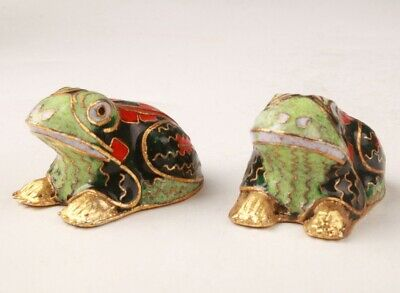 2 Precious China Cloisonne Hand Carving Frog Figurines Statue Gift Collection