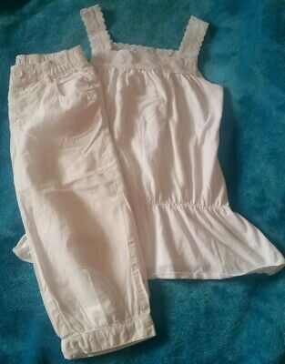 White PRETTY NEXT TOP AND WHITE CROPPED TROUSERS AGE 8 YEARS EXCELLENT CONDITION