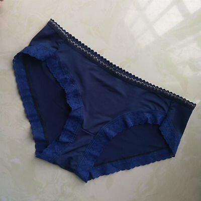 Women Soft Sexy Lace Briefs Panties Thongs G-String Intimates Underwear Blue