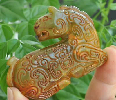 Chinese ancient old hard jade hand-carved pendant necklace ~Mythical Animal  M40