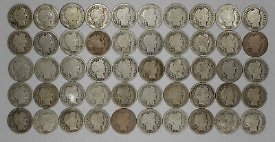 S Mint Mixed Date Barber Dime 10C Average Circulated Full Roll 50 Silver Coins