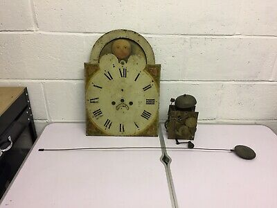 Antique 19th Century 8 Day Grandfather Longcase Clock Moon Phase Movement