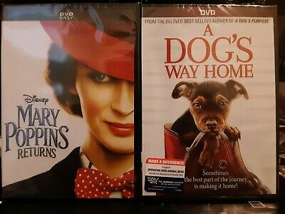Lot of 2 NEW movies A Dog's Way Home (DVD,2019)and Mary Poppins Returns, Family