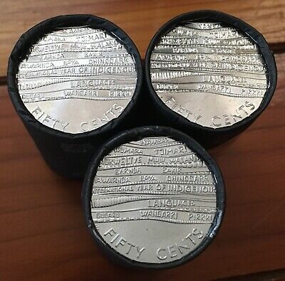 2019 Australian 50c Fifty Cent Indigenous Languages Uncirculated Coin Roll Unc