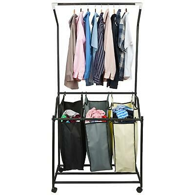 Laundry Basket Trolley Hamper Cart Rolling Organiser Washing Sorter Hanging Rail