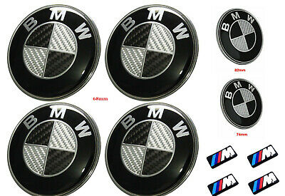 NEW Black Carbon Badge Wheel Bonnet Boot Caps Emblem Set Fits BMW 1 3 5 6 7 E X