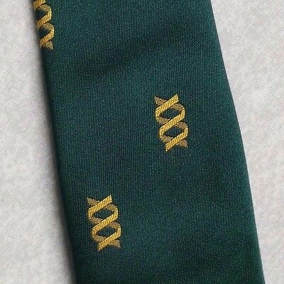 Vintage Tie MENS Necktie Company Logo Crested Club Association GREEN GOLD