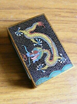 Beautiful Antique Cloisonne Match Box Holder with Chinese /Japanese Dragons VGC