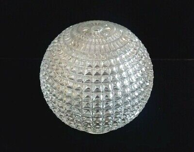 "Vintage Clear Glass Diamond Point Globe Lamp Shade 5 1/2""D x 6""T  3"" Fitter"